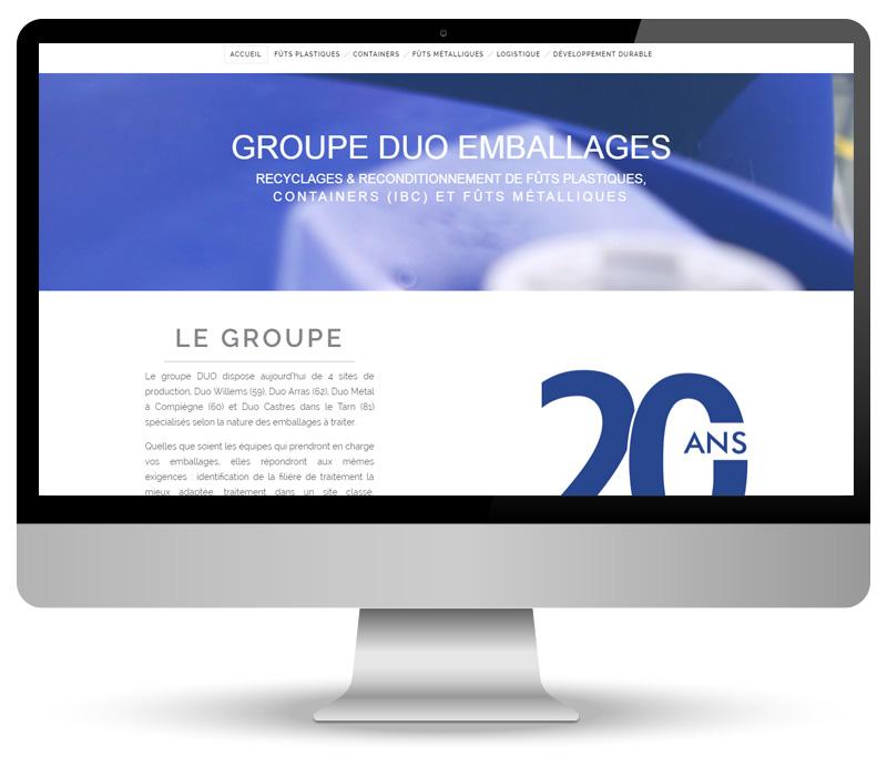 Réalisation site web pour Duo Emballages