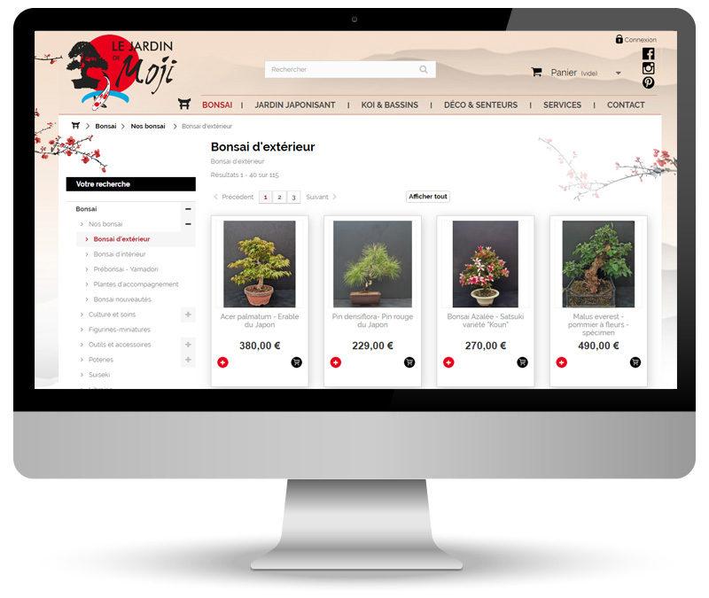 Réalisation site e-commerce pour Le jardin de Moji