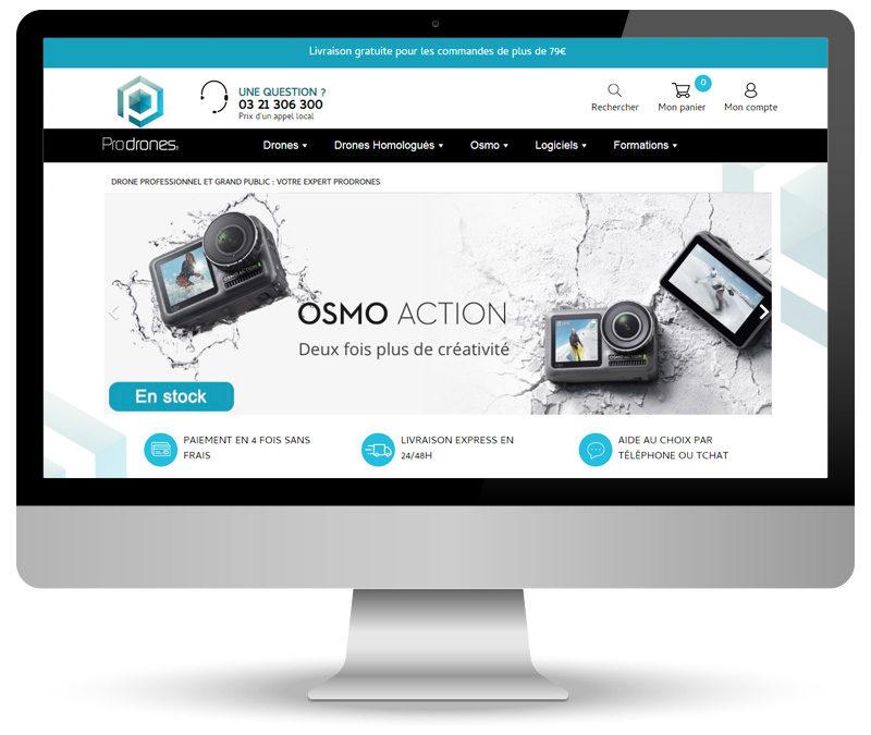 Webmastering de site e-commerce pour le Shop Prodrones