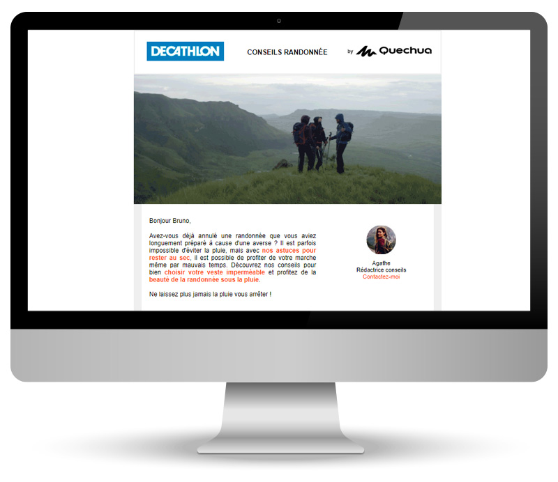 Campagne emailing pour Quechua